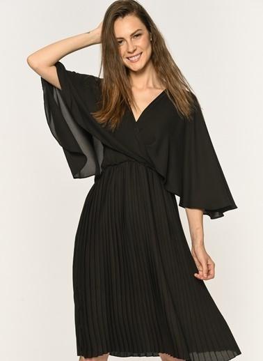 Loves You Eteği Piliseli Yarasa Kol Anvelop Şifon Elbise Siyah